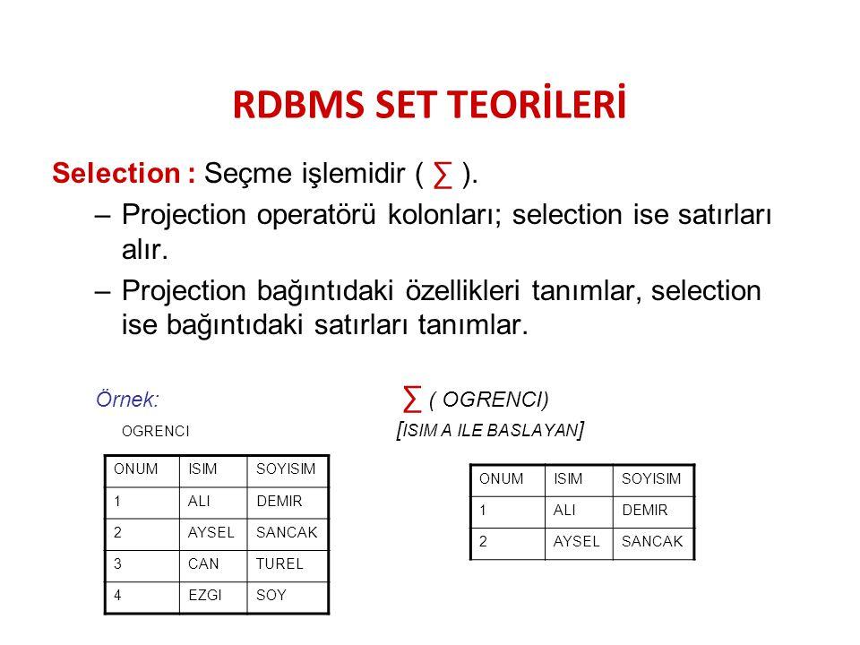 RDBMS SET TEORİLERİ Selection : Seçme işlemidir ( ∑ ). –Projection operatörü kolonları; selection ise satırları alır. –Projection bağıntıdaki özellikl