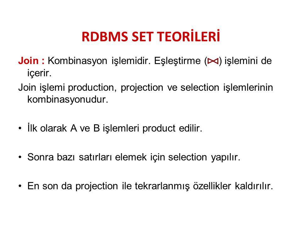 RDBMS SET TEORİLERİ Join : Kombinasyon işlemidir. Eşleştirme ( ) işlemini de içerir. Join işlemi production, projection ve selection işlemlerinin komb
