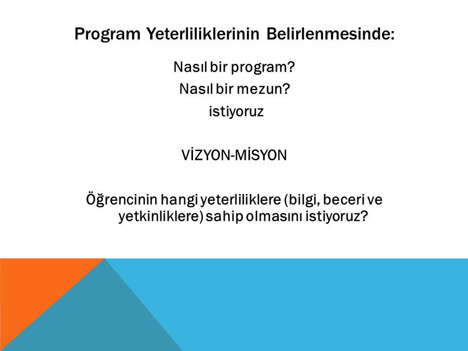 Program Yeterliliklerinin Belirlenmesinde: Nasıl bir program? Nasıl bir mezun? istiyoruz VİZYON-MİSYON Öğrencinin hangi yeterliliklere (bilgi, beceri