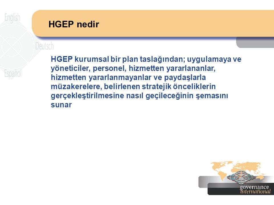 HGEP nedir HGEP kurumsal bir plan taslağından; uygulamaya ve yöneticiler, personel, hizmetten yararlananlar, hizmetten yararlanmayanlar ve paydaşlarla