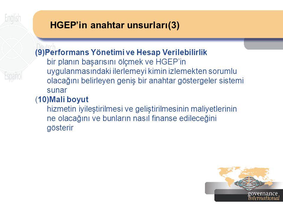HGEP'in anahtar unsurları(3) (9)Performans Yönetimi ve Hesap Verilebilirlik bir planın başarısını ölçmek ve HGEP'in uygulanmasındaki ilerlemeyi kimin
