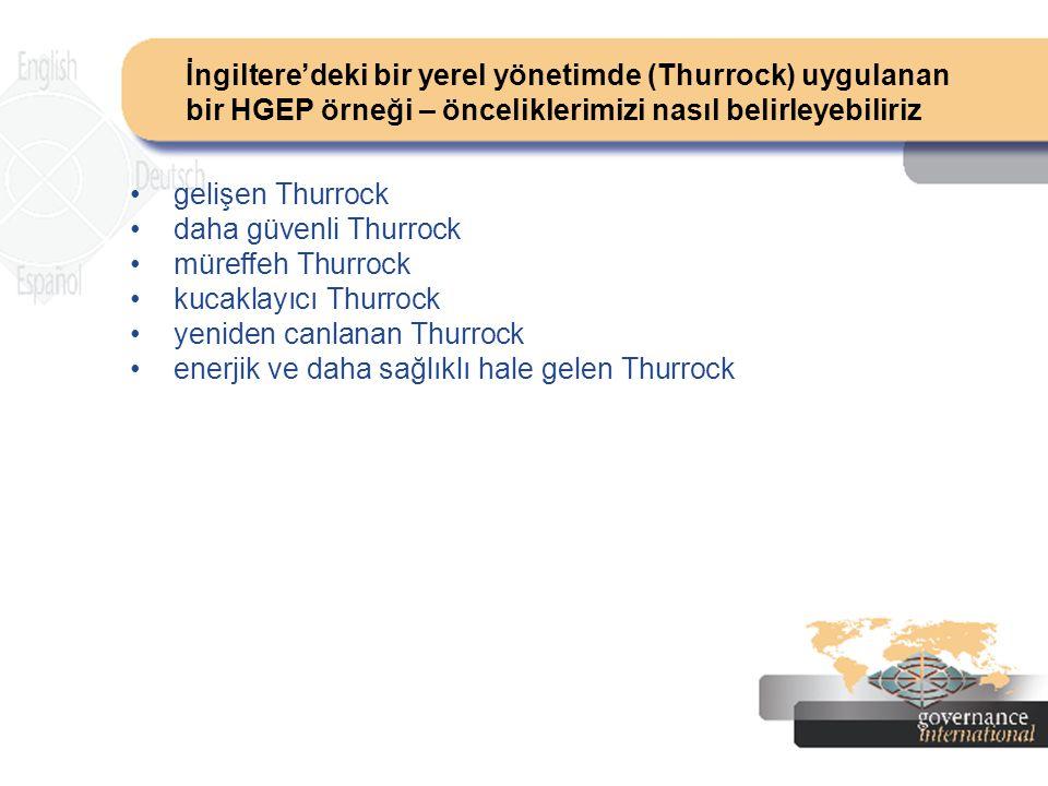İngiltere'deki bir yerel yönetimde (Thurrock) uygulanan bir HGEP örneği – önceliklerimizi nasıl belirleyebiliriz gelişen Thurrock daha güvenli Thurroc