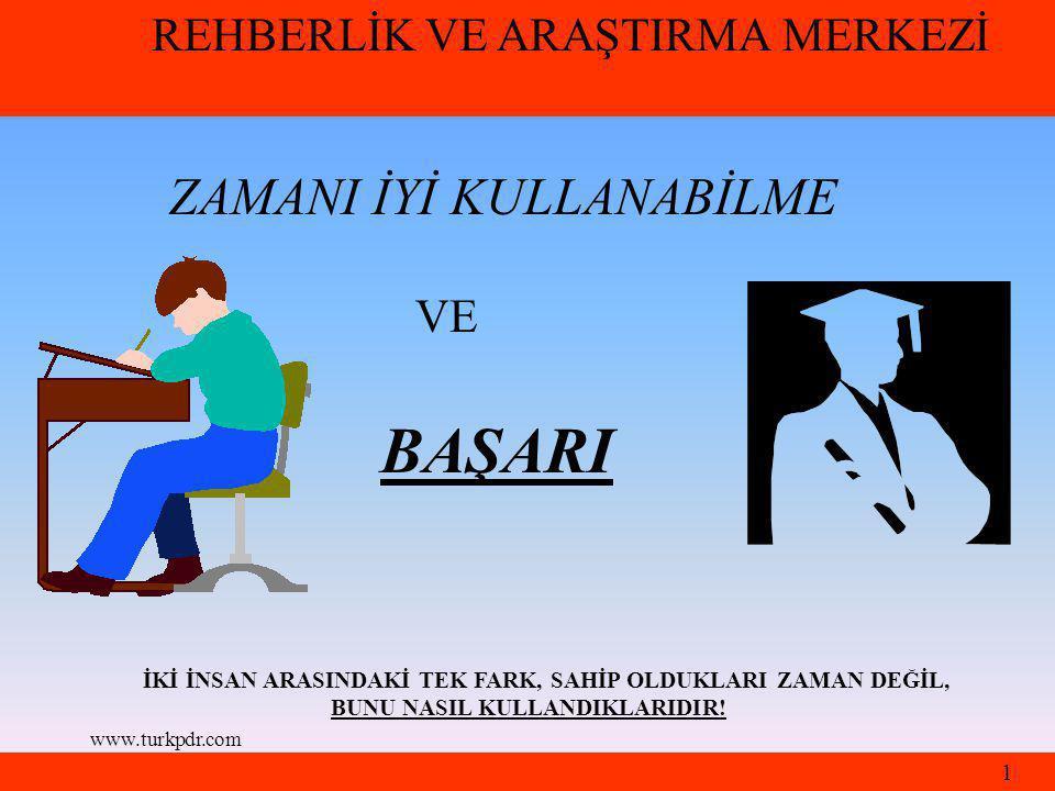 www.turkpdr.com ZAMANI İYİ KULLANABİLME VE BAŞARI İKİ İNSAN ARASINDAKİ TEK FARK, SAHİP OLDUKLARI ZAMAN DEĞİL, BUNU NASIL KULLANDIKLARIDIR.
