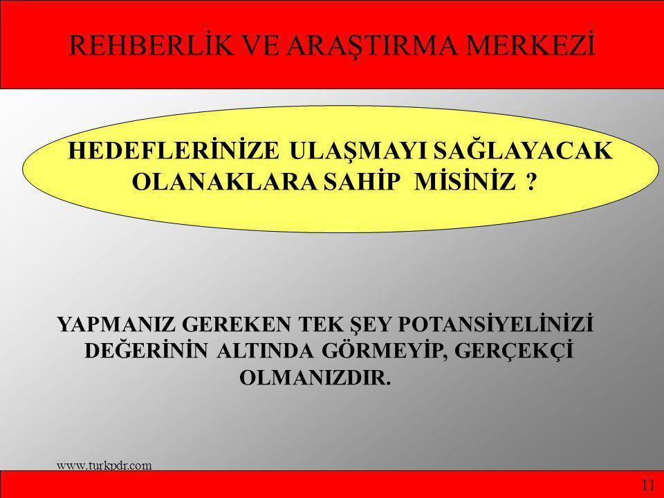 www.turkpdr.com REHBERLİK VE ARAŞTIRMA MERKEZİ HEDEFLERİNİZE ULAŞMAYI SAĞLAYACAK OLANAKLARA SAHİP MİSİNİZ .