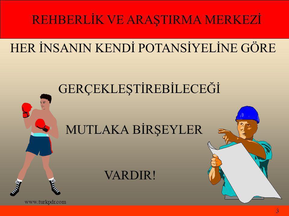 www.turkpdr.com HER İNSANIN KENDİ POTANSİYELİNE GÖRE GERÇEKLEŞTİREBİLECEĞİ MUTLAKA BİRŞEYLER VARDIR.