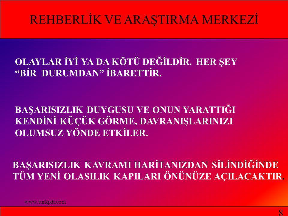 www.turkpdr.com REHBERLİK VE ARAŞTIRMA MERKEZİ OLAYLAR İYİ YA DA KÖTÜ DEĞİLDİR.