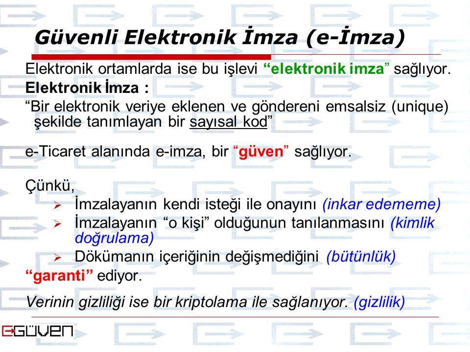 Güvenli Elektronik İmza (e-İmza) Elektronik ortamlarda ise bu işlevi elektronik imza sağlıyor.