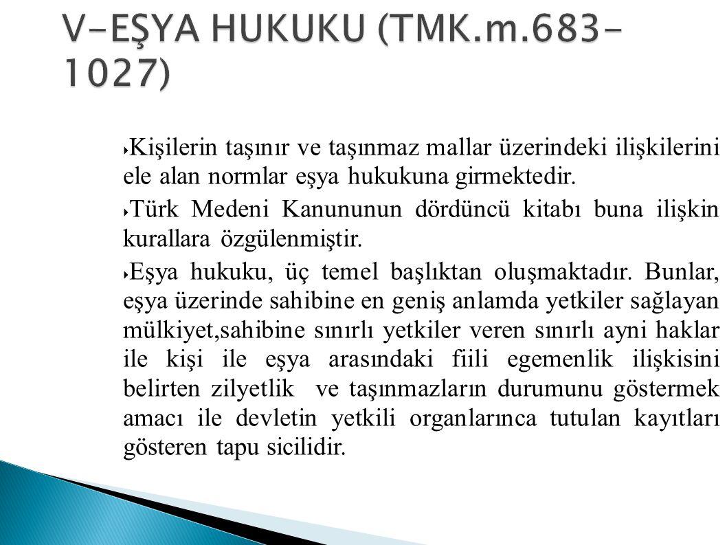  Kişilerin taşınır ve taşınmaz mallar üzerindeki ilişkilerini ele alan normlar eşya hukukuna girmektedir.  Türk Medeni Kanununun dördüncü kitabı bun