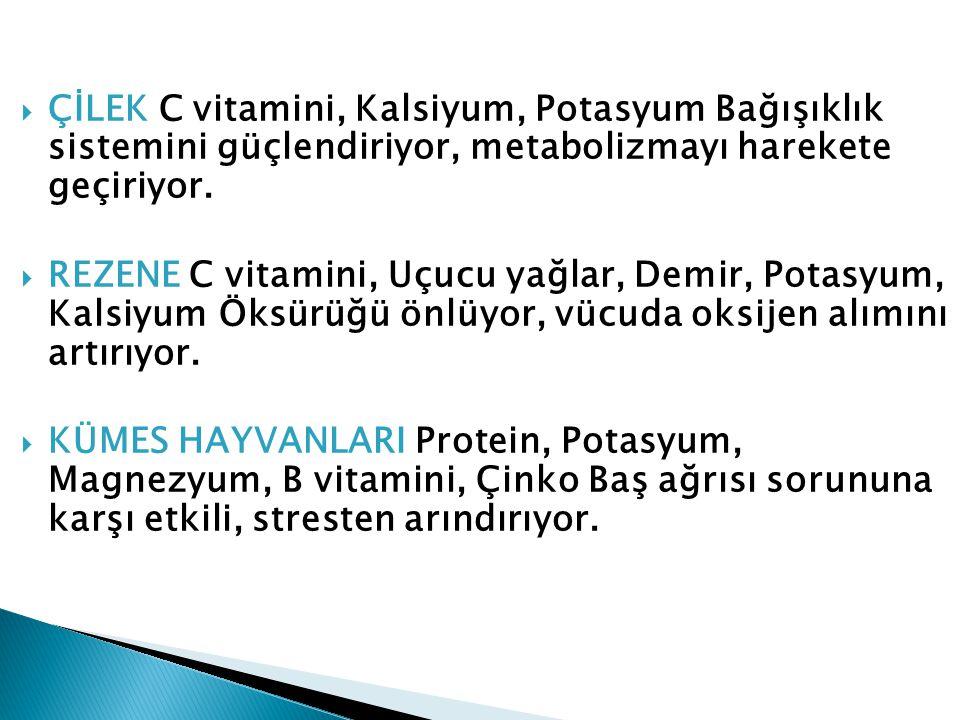  ÇİLEK C vitamini, Kalsiyum, Potasyum Bağışıklık sistemini güçlendiriyor, metabolizmayı harekete geçiriyor.  REZENE C vitamini, Uçucu yağlar, Demir,