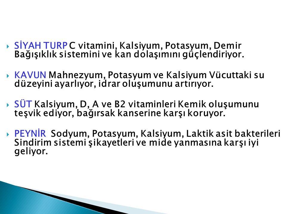  SİYAH TURP C vitamini, Kalsiyum, Potasyum, Demir Bağışıklık sistemini ve kan dolaşımını güçlendiriyor.  KAVUN Mahnezyum, Potasyum ve Kalsiyum Vücut