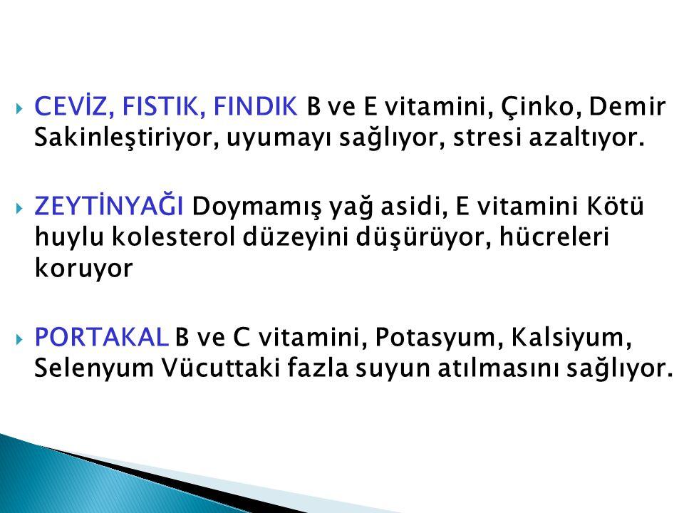  CEVİZ, FISTIK, FINDIK B ve E vitamini, Çinko, Demir Sakinleştiriyor, uyumayı sağlıyor, stresi azaltıyor.  ZEYTİNYAĞI Doymamış yağ asidi, E vitamini