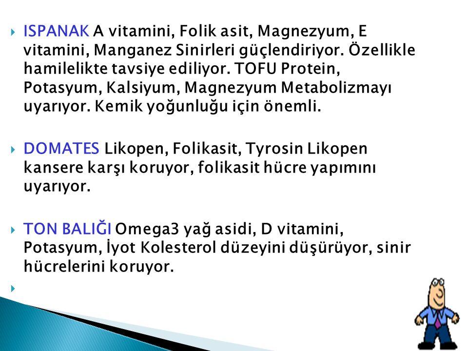  ISPANAK A vitamini, Folik asit, Magnezyum, E vitamini, Manganez Sinirleri güçlendiriyor. Özellikle hamilelikte tavsiye ediliyor. TOFU Protein, Potas