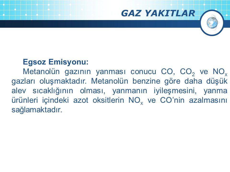 GAZ YAKITLAR Egsoz Emisyonu: Metanolün gazının yanması conucu CO, CO 2 ve NO x gazları oluşmaktadır. Metanolün benzine göre daha düşük alev sıcaklığın