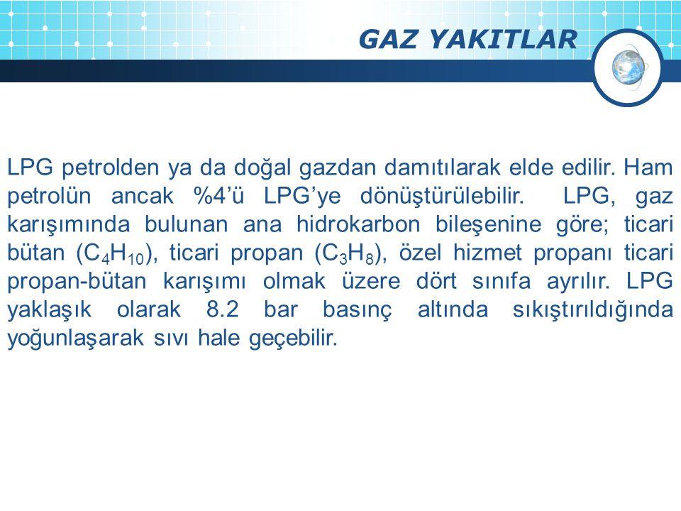 GAZ YAKITLAR LPG petrolden ya da doğal gazdan damıtılarak elde edilir. Ham petrolün ancak %4'ü LPG'ye dönüştürülebilir. LPG, gaz karışımında bulunan a