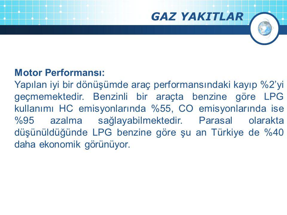 GAZ YAKITLAR Motor Performansı: Yapılan iyi bir dönüşümde araç performansındaki kayıp %2'yi geçmemektedir. Benzinli bir araçta benzine göre LPG kullan