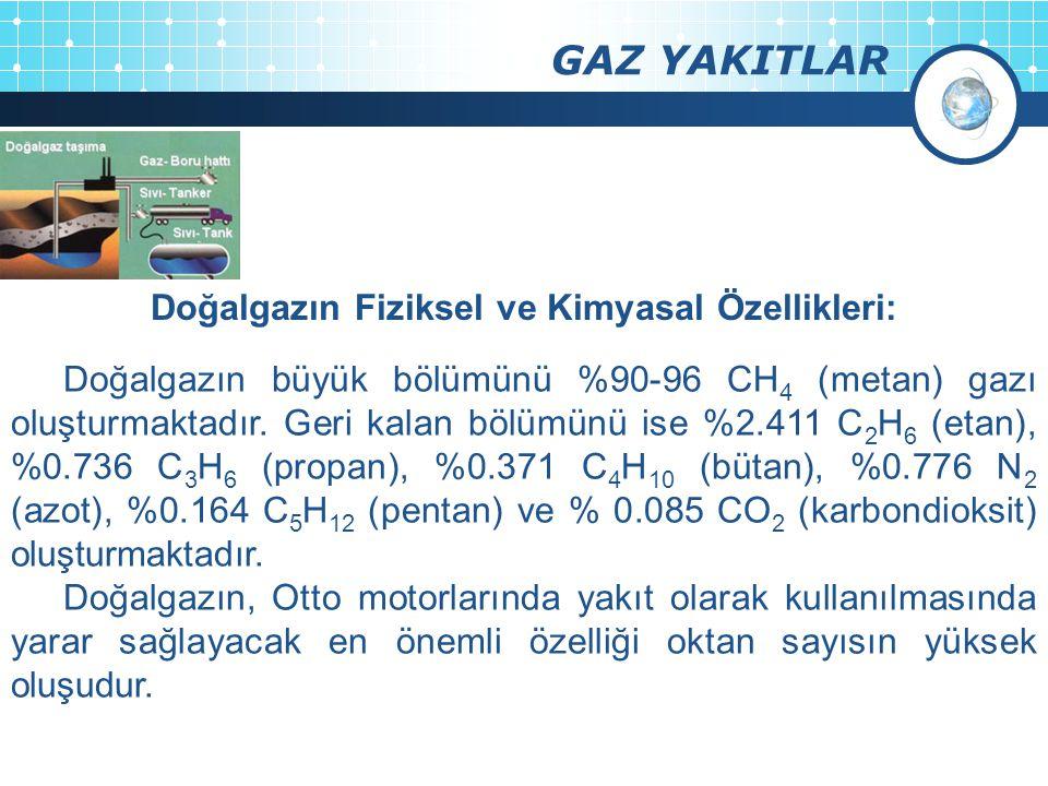 GAZ YAKITLAR Doğalgazın büyük bölümünü %90-96 CH 4 (metan) gazı oluşturmaktadır. Geri kalan bölümünü ise %2.411 C 2 H 6 (etan), %0.736 C 3 H 6 (propan