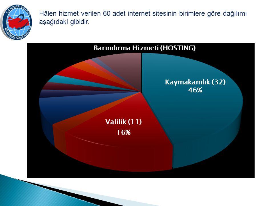 Hâlen hizmet verilen 60 adet internet sitesinin birimlere göre dağılımı aşağıdaki gibidir. Kaymakamlık (32) 46%