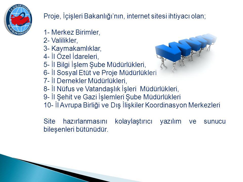Proje, İçişleri Bakanlığı'nın, internet sitesi ihtiyacı olan; 1- Merkez Birimler, 2- Valilikler, 3- Kaymakamlıklar, 4- İl Özel İdareleri, 5- İl Bilgi İşlem Şube Müdürlükleri, 6- İl Sosyal Etüt ve Proje Müdürlükleri 7- İl Dernekler Müdürlükleri, 8- İl Nüfus ve Vatandaşlık İşleri Müdürlükleri, 9- İl Şehit ve Gazi İşlemleri Şube Müdürlükleri 10- İl Avrupa Birliği ve Dış İlişkiler Koordinasyon Merkezleri Site hazırlanmasını kolaylaştırıcı yazılım ve sunucu bileşenleri bütünüdür.