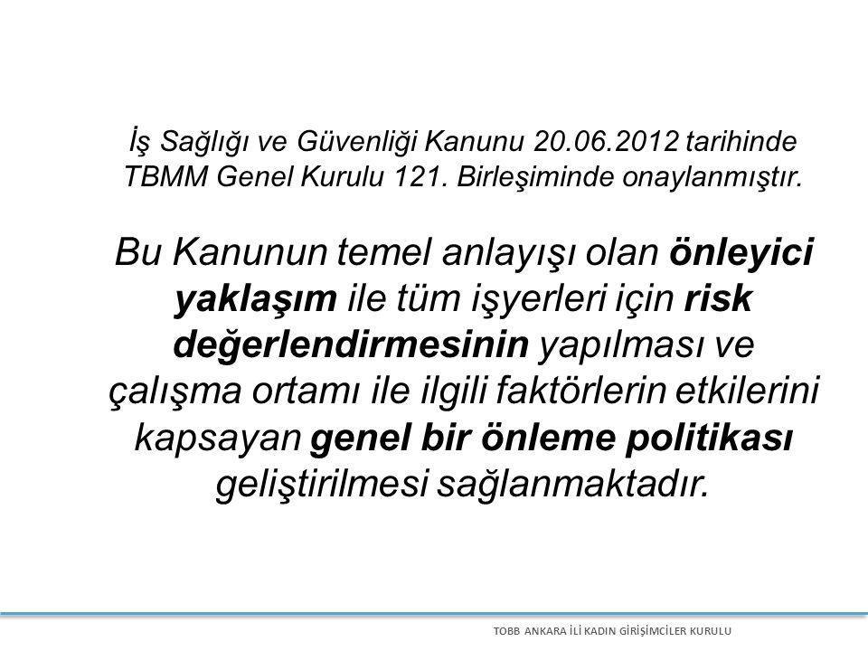 TOBB ANKARA İLİ KADIN GİRİŞİMCİLER KURULU İş Sağlığı ve Güvenliği Kanunu 20.06.2012 tarihinde TBMM Genel Kurulu 121.
