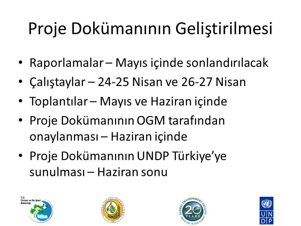 Proje Dokümanının Geliştirilmesi Raporlamalar – Mayıs içinde sonlandırılacak Çalıştaylar – 24-25 Nisan ve 26-27 Nisan Toplantılar – Mayıs ve Haziran içinde Proje Dokümanının OGM tarafından onaylanması – Haziran içinde Proje Dokümanının UNDP Türkiye'ye sunulması – Haziran sonu