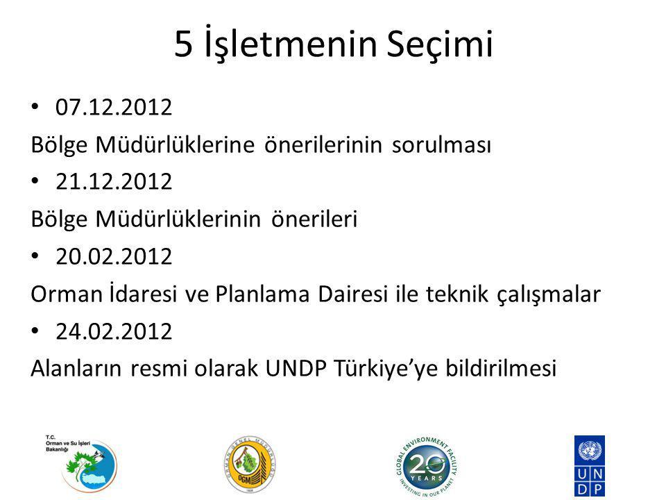 5 İşletmenin Seçimi 07.12.2012 Bölge Müdürlüklerine önerilerinin sorulması 21.12.2012 Bölge Müdürlüklerinin önerileri 20.02.2012 Orman İdaresi ve Planlama Dairesi ile teknik çalışmalar 24.02.2012 Alanların resmi olarak UNDP Türkiye'ye bildirilmesi