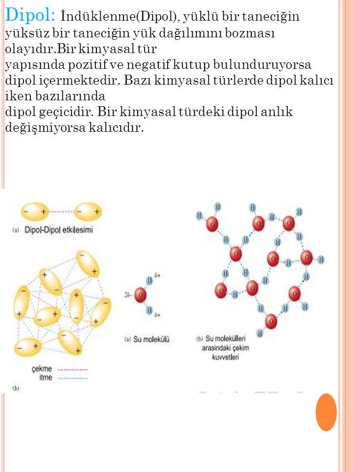 Dipol: İndüklenme(Dipol), yüklü bir taneciğin yüksüz bir taneciğin yük dağılımını bozması olayıdır.Bir kimyasal tür yapısında pozitif ve negatif kutup bulunduruyorsa dipol içermektedir.