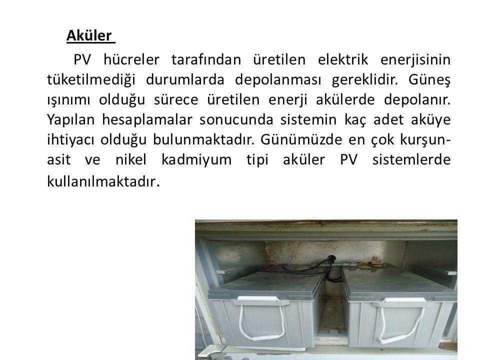 Aküler PV hücreler tarafından üretilen elektrik enerjisinin tüketilmediği durumlarda depolanması gereklidir. Güneş ışınımı olduğu sürece üretilen ener