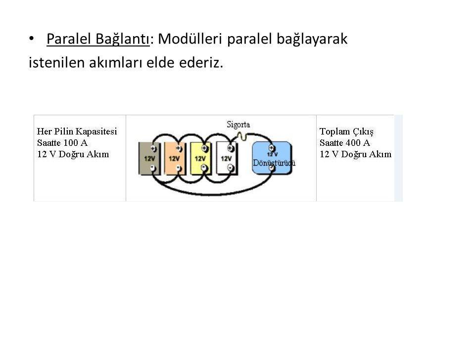 Paralel Bağlantı: Modülleri paralel bağlayarak istenilen akımları elde ederiz.