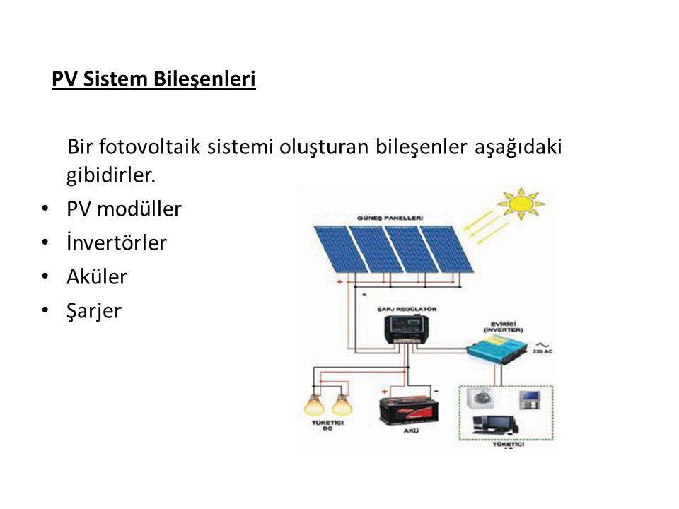PV Sistem Bileşenleri Bir fotovoltaik sistemi oluşturan bileşenler aşağıdaki gibidirler. PV modüller İnvertörler Aküler Şarjer