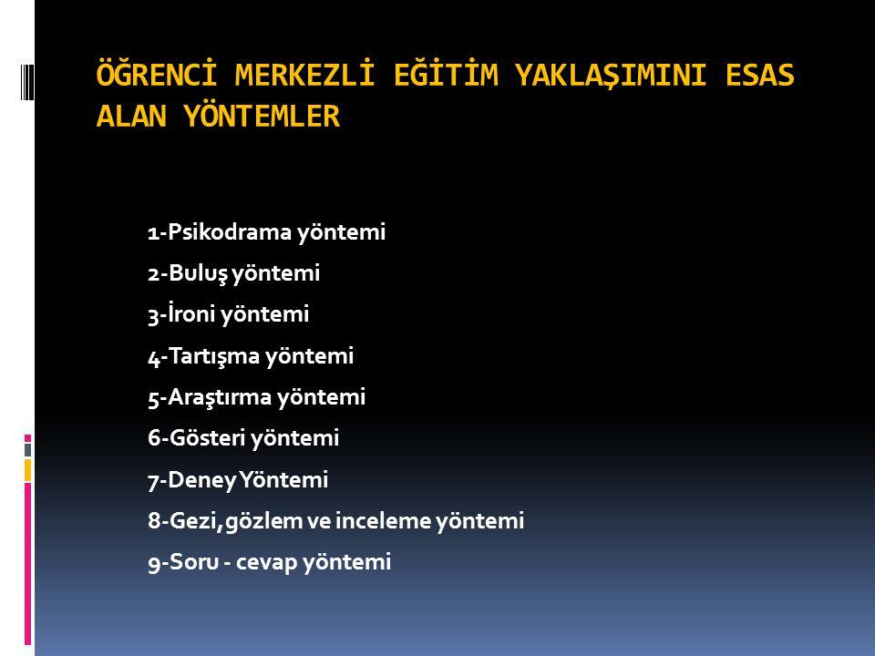 1-Psikodrama yöntemi 2-Buluş yöntemi 3-İroni yöntemi 4-Tartışma yöntemi 5-Araştırma yöntemi 6-Gösteri yöntemi 7-Deney Yöntemi 8-Gezi,gözlem ve incelem