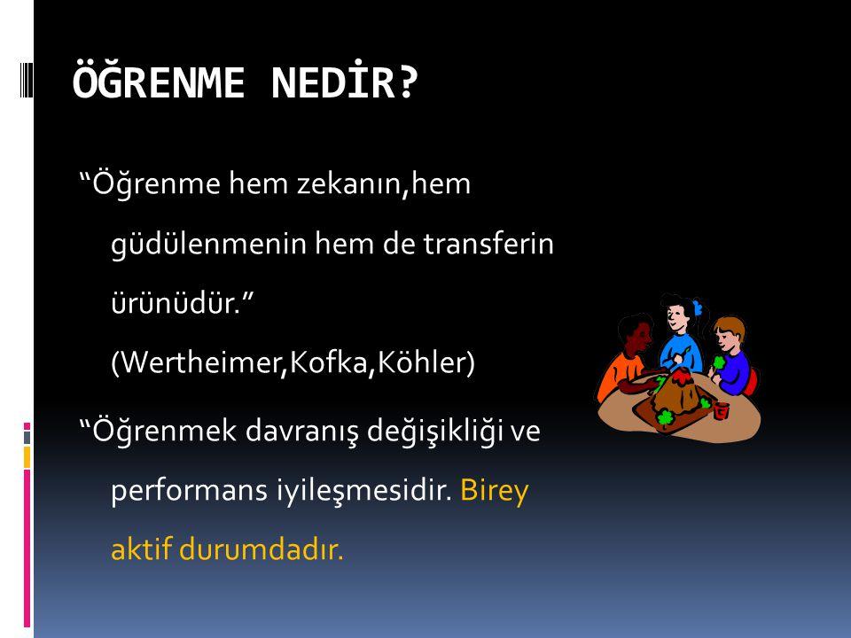 """ÖĞRENME NEDİR? """"Öğrenme hem zekanın,hem güdülenmenin hem de transferin ürünüdür."""" (Wertheimer,Kofka,Köhler)  """"Öğrenmek davranış değişikliği ve perfor"""