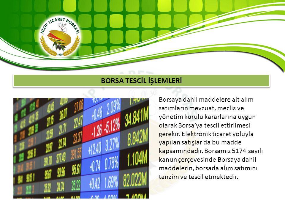 BORSA TESCİL İŞLEMLERİ Borsaya dahil maddelere ait alım satımların mevzuat, meclis ve yönetim kurulu kararlarına uygun olarak Borsa'ya tescil ettirilm