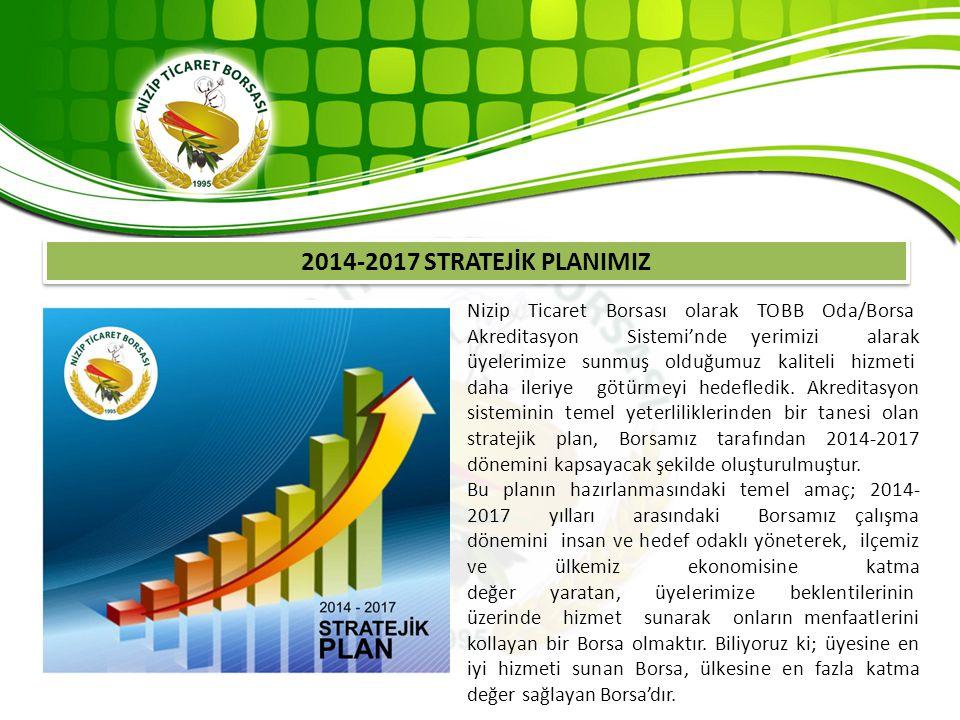 2014-2017 STRATEJİK PLANIMIZ Nizip Ticaret Borsası olarak TOBB Oda/Borsa Akreditasyon Sistemi'nde yerimizi alarak üyelerimize sunmuş olduğumuz kalitel