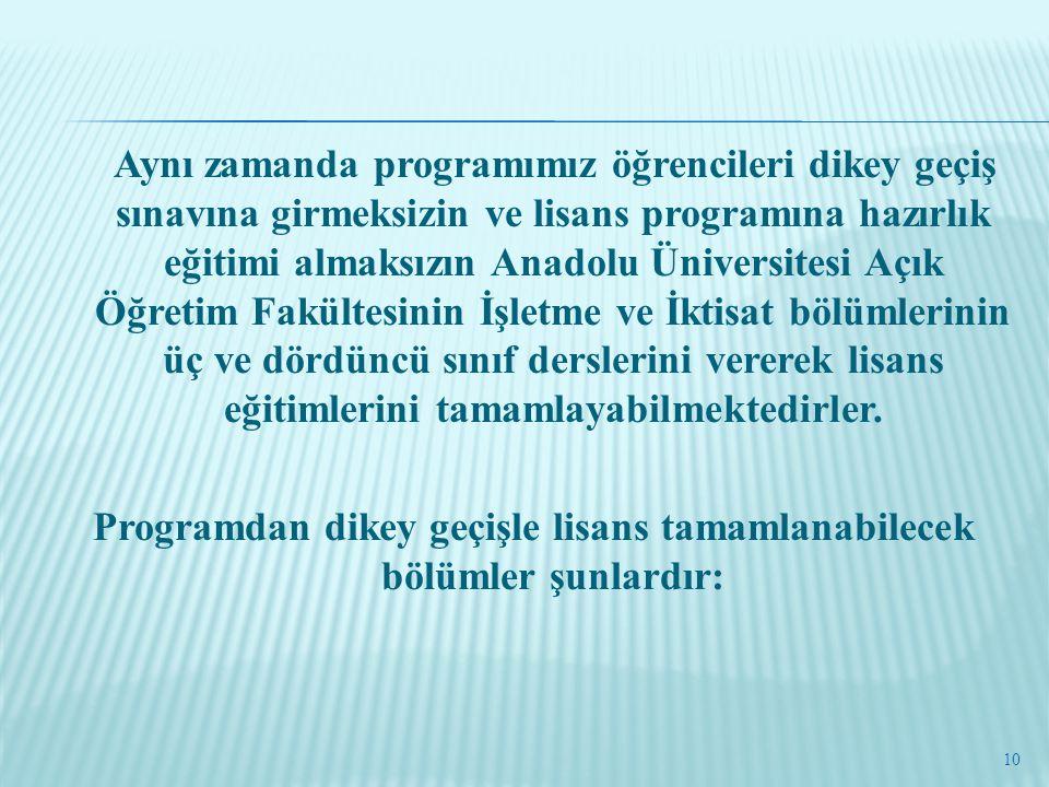 Aynı zamanda programımız öğrencileri dikey geçiş sınavına girmeksizin ve lisans programına hazırlık eğitimi almaksızın Anadolu Üniversitesi Açık Öğret