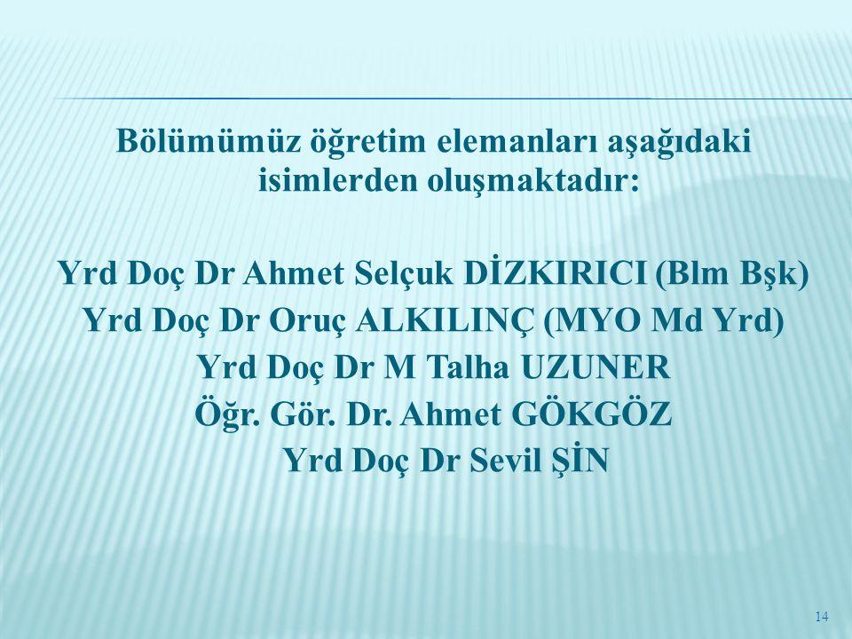 Bölümümüz öğretim elemanları aşağıdaki isimlerden oluşmaktadır: Yrd Doç Dr Ahmet Selçuk DİZKIRICI (Blm Bşk) Yrd Doç Dr Oruç ALKILINÇ (MYO Md Yrd) Yrd