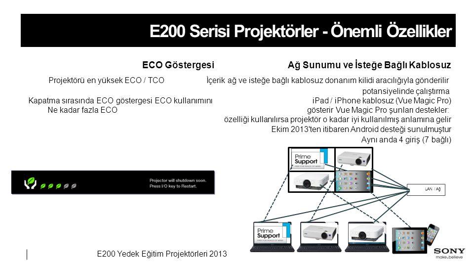 E200 Yedek Eğitim Projektörleri 2013 E200 Serisi Projektörler - Önemli Özellikler Ağ Sunumu ve İsteğe Bağlı KablosuzECO Göstergesi İçerik ağ ve isteğe bağlı kablosuz donanım kilidi aracılığıyla gönderilir Projektörü en yüksek ECO / TCO potansiyelinde çalıştırma iPad / iPhone kablosuz (Vue Magic Pro)Kapatma sırasında ECO göstergesi ECO kullanımını gösterir Vue Magic Pro şunları destekler: Ne kadar fazla ECO özelliği kullanılırsa projektör o kadar iyi kullanılmış anlamına gelir Ekim 2013 ten itibaren Android desteği sunulmuştur Aynı anda 4 giriş (7 bağlı) LAN / Ağ