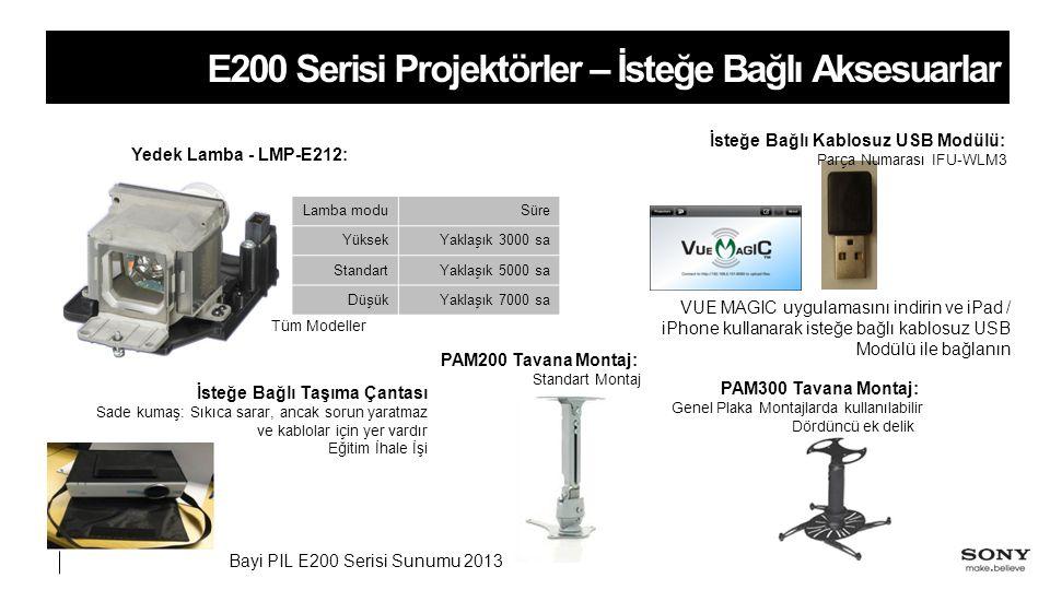 Bayi PIL E200 Serisi Sunumu 2013 E200 Serisi Projektörler – İsteğe Bağlı Aksesuarlar Yedek Lamba - LMP-E212: Lamba moduSüre YüksekYaklaşık 3000 sa StandartYaklaşık 5000 sa DüşükYaklaşık 7000 sa İsteğe Bağlı Kablosuz USB Modülü: Parça Numarası IFU-WLM3 Tüm Modeller VUE MAGIC uygulamasını indirin ve iPad / iPhone kullanarak isteğe bağlı kablosuz USB Modülü ile bağlanın PAM200 Tavana Montaj: Standart Montaj PAM300 Tavana Montaj: Genel Plaka Montajlarda kullanılabilir Dördüncü ek delik İsteğe Bağlı Taşıma Çantası Sade kumaş: Sıkıca sarar, ancak sorun yaratmaz ve kablolar için yer vardır Eğitim İhale İşi