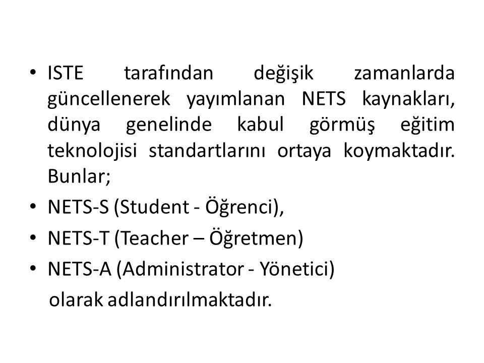 ISTE'nin yayımladığı ve dünya genelinde kabul gören bu eğitim teknolojisi standartları, Yöneticilerin, Öğretmenlerin ve son kullanıcı olan öğrencilerin 21.