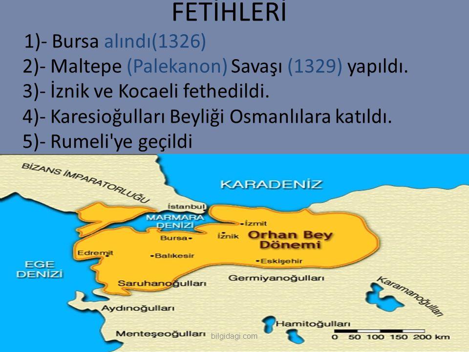 FETİHLERİ 1)- Bursa alındı(1326) 2)- Maltepe (Palekanon) Savaşı (1329) yapıldı. 3)- İznik ve Kocaeli fethedildi. 4)- Karesioğulları Beyliği Osmanlılar
