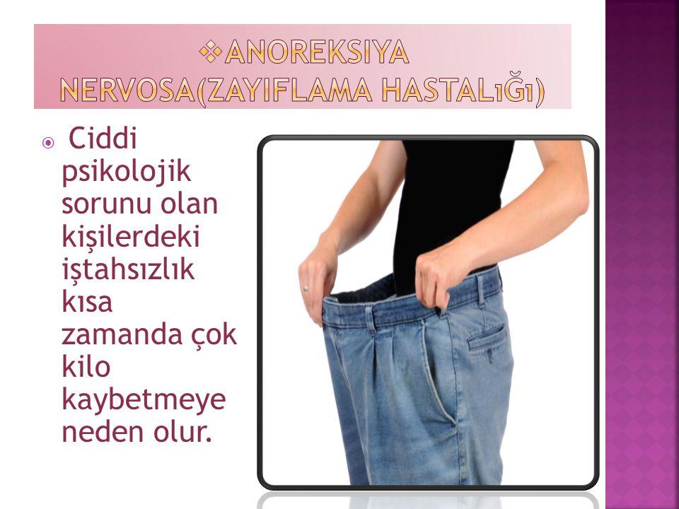  Ciddi psikolojik sorunu olan kişilerdeki iştahsızlık kısa zamanda çok kilo kaybetmeye neden olur.