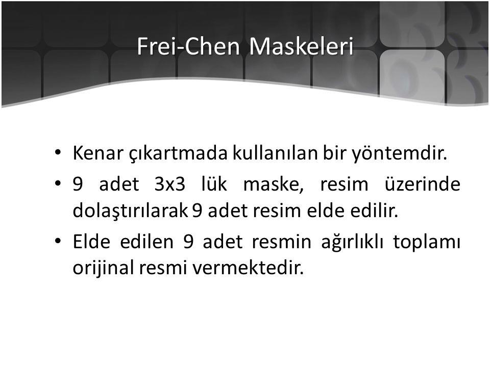 Frei-Chen Maskeleri Kenar çıkartmada kullanılan bir yöntemdir. 9 adet 3x3 lük maske, resim üzerinde dolaştırılarak 9 adet resim elde edilir. Elde edil