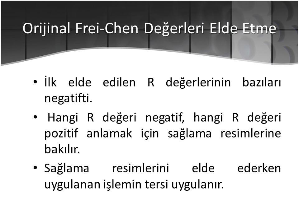Orijinal Frei-Chen Değerleri Elde Etme İlk elde edilen R değerlerinin bazıları negatifti. Hangi R değeri negatif, hangi R değeri pozitif anlamak için