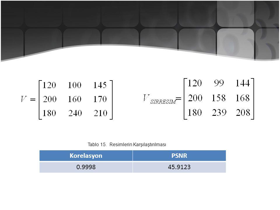 KorelasyonPSNR 0.999845.9123 Tablo 15. Resimlerin Karşılaştırılması