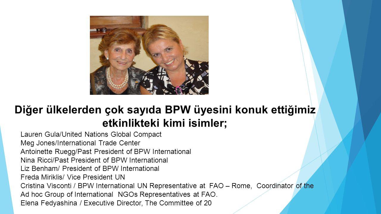 Diğer ülkelerden çok sayıda BPW üyesini konuk ettiğimiz etkinlikteki kimi isimler; Lauren Gula/United Nations Global Compact Meg Jones/International T