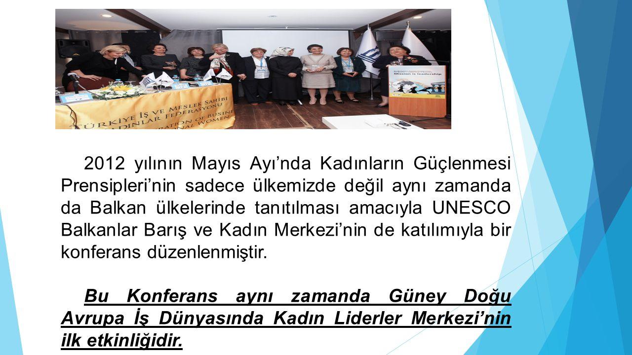 2012 yılının Mayıs Ayı'nda Kadınların Güçlenmesi Prensipleri'nin sadece ülkemizde değil aynı zamanda da Balkan ülkelerinde tanıtılması amacıyla UNESCO