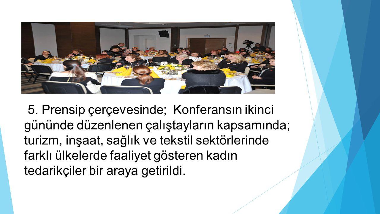 5. Prensip çerçevesinde; Konferansın ikinci gününde düzenlenen çalıştayların kapsamında; turizm, inşaat, sağlık ve tekstil sektörlerinde farklı ülkele