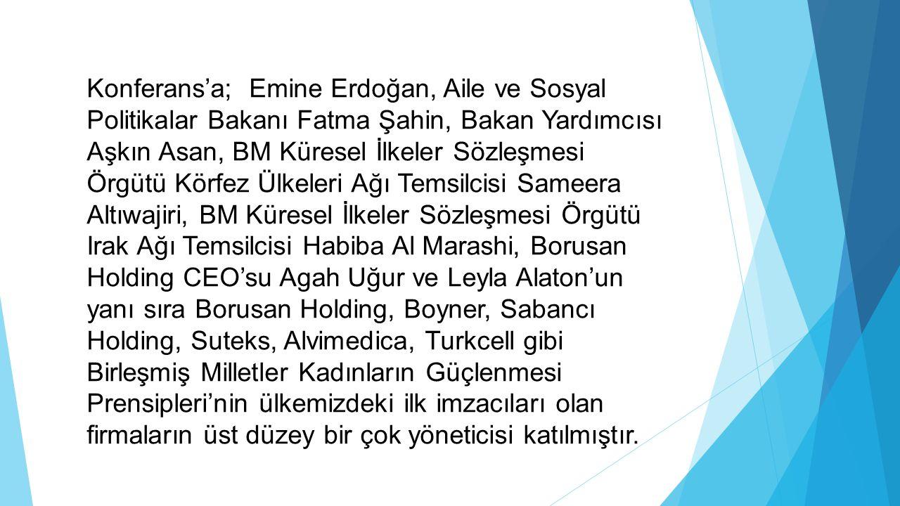 Konferans'a; Emine Erdoğan, Aile ve Sosyal Politikalar Bakanı Fatma Şahin, Bakan Yardımcısı Aşkın Asan, BM Küresel İlkeler Sözleşmesi Örgütü Körfez Ül