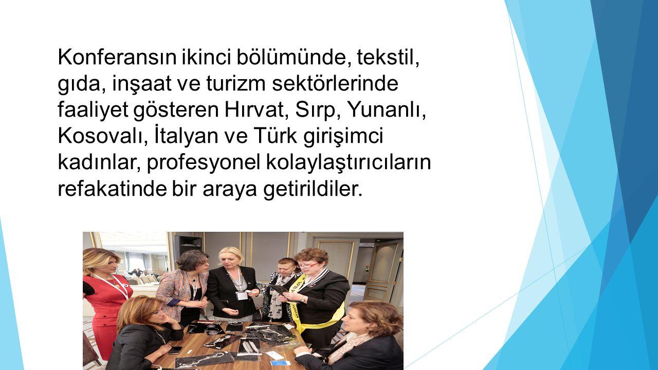 Konferansın ikinci bölümünde, tekstil, gıda, inşaat ve turizm sektörlerinde faaliyet gösteren Hırvat, Sırp, Yunanlı, Kosovalı, İtalyan ve Türk girişim