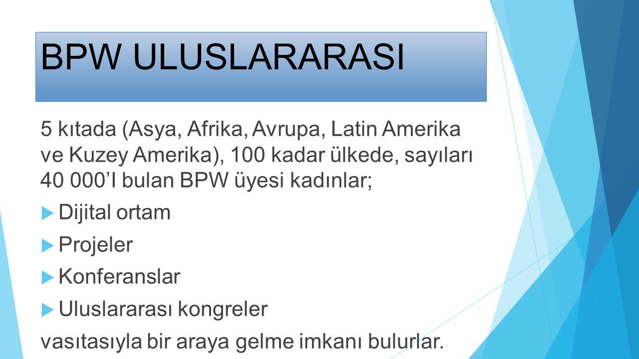 BPW ULUSLARARASI 5 kıtada (Asya, Afrika, Avrupa, Latin Amerika ve Kuzey Amerika), 100 kadar ülkede, sayıları 40 000'I bulan BPW üyesi kadınlar;  Diji