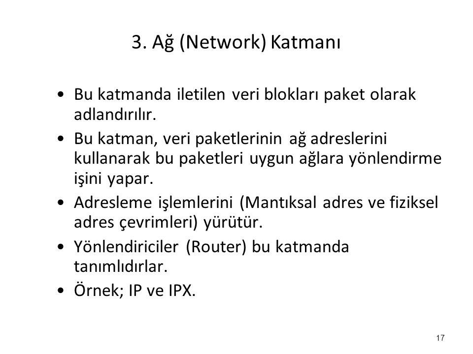 3.Ağ (Network) Katmanı Bu katmanda iletilen veri blokları paket olarak adlandırılır.